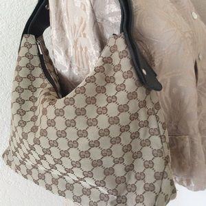 Monogramed GG shoulder bag tan bag & brown trim